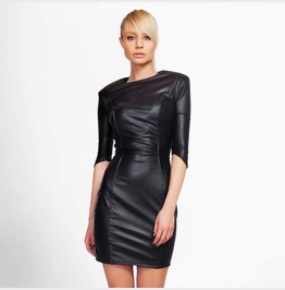 Black Vegan Leather Dress | Cocktail Dress | Bodycon Dress | Sexy Lbd