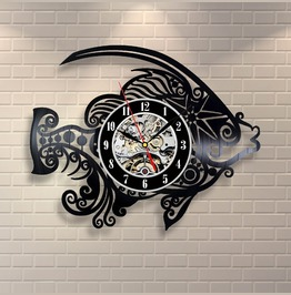 Modern Home Record Fish Vinyl Record Wall Clock Fan Art Handmade Home Decor