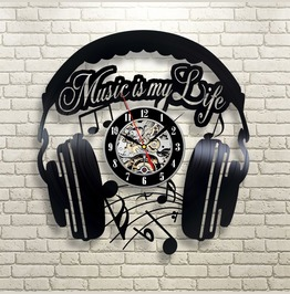 Music My Life Vinyl Record Wall Clock Modern Home Record Vintage Decoration
