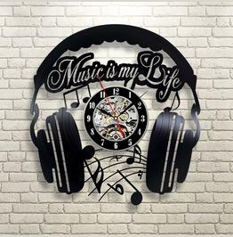 Music My Life Vinyl Record Wall Clock Modern Home Record Vintage Decoration