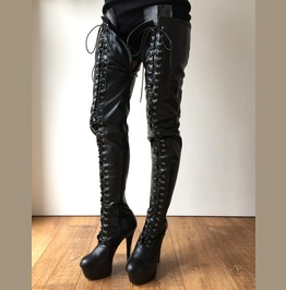 Rtbu Perkins 15cm Platform 80cm Crotch Burlesque Eel Lace Up Zip Black Matte