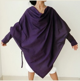 Purple Apocalyptic Poncho Top,Asymmetrical Sweater,In Cotton Jersey T32