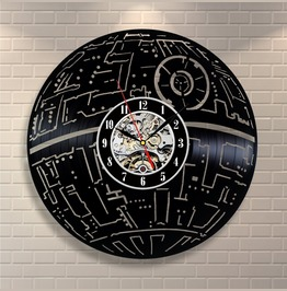 Death Star Wars Vinyl Record Wall Clock Decorate Home Design Room Art Gift