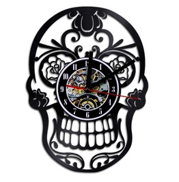 Vintage Punk Skull Vinyl Record Wall Clock Decorate Home Design Art Room