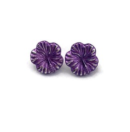 Purple Hibiscus Earrings, Tropical Hawaiian Flower Studs