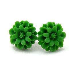Retro Crysanthemum Flower Stud Earrings In Peach Or Green