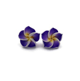 Tropical Hawaiian Flower Earrings Plumeria Studs In Purple Or Yellow
