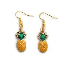 Pineapple Earrings Gold With Yellow And Green Enamel