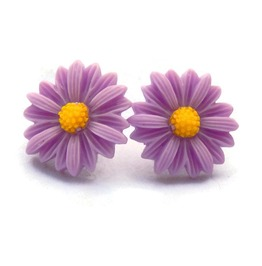 Retro Daisy Earrings Flower Studs Purple, Pink, Aqua
