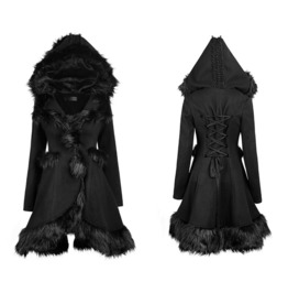 Hooded Leather Coat With Fur Lolita Womens