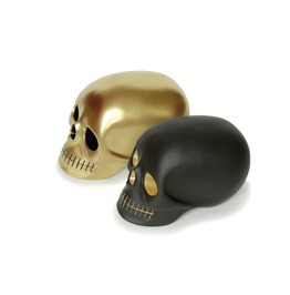Set Of Handmade Decorative Skulls Black Gold/Gold Black