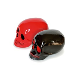 Set Of Handmade Decorative Skulls Black Red/Red Black