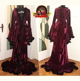 Velvet Dressing Gown / Marabou Feather Velvet Robe / Medieval Velvet Robe