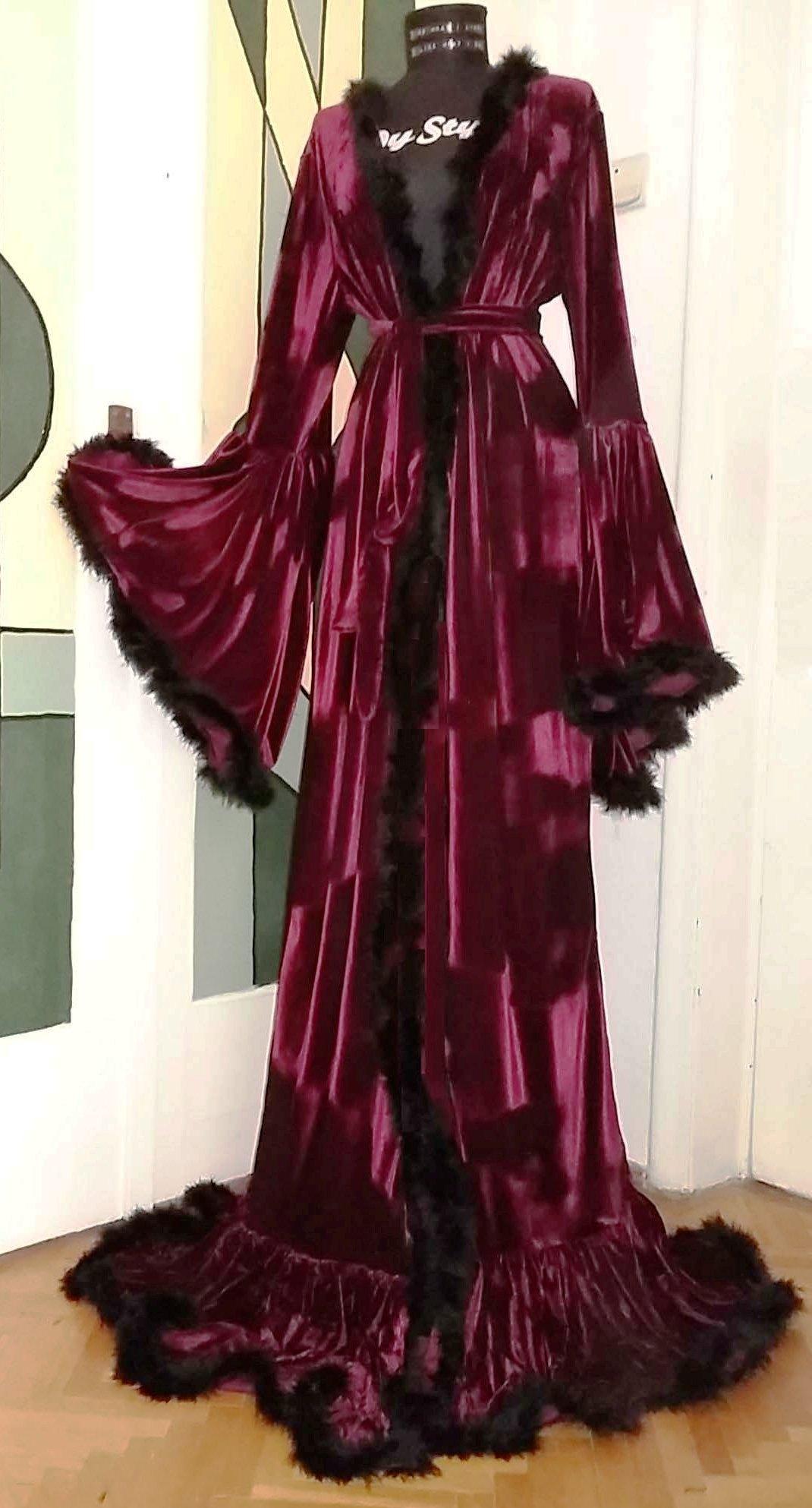 Velvet Dressing Gown / Marabou Feather Velvet Robe / Medieval Velvet