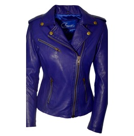 Faneema Riva Moto Lambskin Leather Jacket For Women, Blue