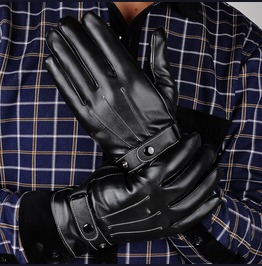 Men's Black Fashion Pu Leather Winter Wrist Driving Touch Screen Gloves