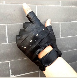 Mens Leather Fingerless Driving Motorcycle Gloves Street Dance Accessories