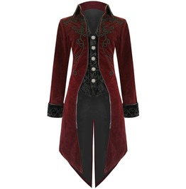 Mens Steampunk Victorian Tailcoat Jacket Red Custom Aristocrat Regency Coat