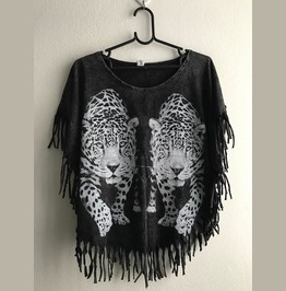 Tiger Wild Animal Double Trouble Rock Stone Wash T Shirt Poncho Fringes
