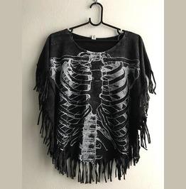 Torso Skull Stone Wash T Shirt Poncho Fringes