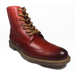 Vintage Red Leather Brogue Oxford Boots