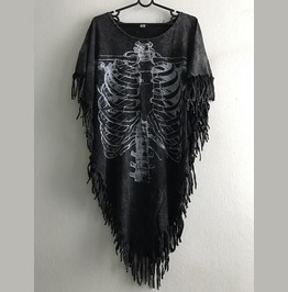 Skull Torso Hippie Batwing Tussle Fringes Stone Wash Poncho