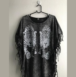 Tiger Animal Hippie Batwing Tussle Fringes Stone Wash Poncho L