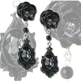 Rose Pewter Studs Faceted Crystal Drop