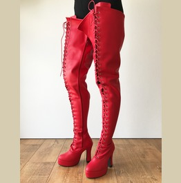 Zeth 12cm Spool Heel Platform Lace Up Crotch Goth Cosplay Fetish Boot Red