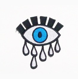 Blue Eye And Tears Embroidered Iron On Patch.
