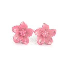 Retro Lily Flower Post Earrings, Pink Or Blue