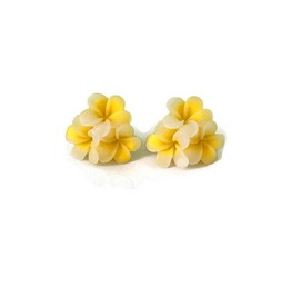 Yellow Hawaiian Flower Earrings Large Triple Plumeria