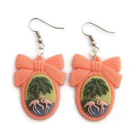 Pink Flamingo Cameo Earrings