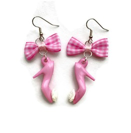 Bow And High Heel Earrings Pink Or Black