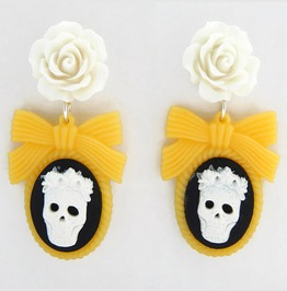 Sugar Skull Cameo And Rose Earrings Green Or Yellow