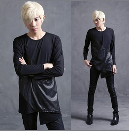 Mens Long Sleeve T Shirts Pu Spliced Fashion Tee Shirts