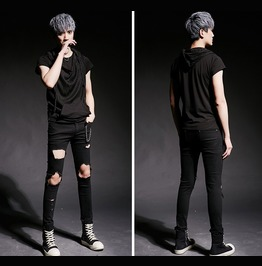 Mens Fashion Ripped Jeans Skinny Distressed Pants