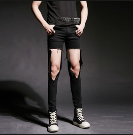 Personalised Black Knees Ripped Pants