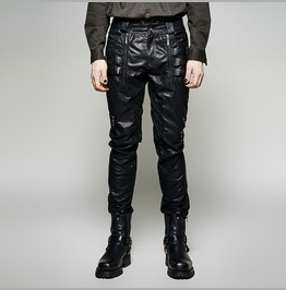 Men Steampunk Leather Look Pant Gothic Rock Metal Fetish Black Leather Pant