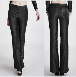 Women Vintage Retro Rockabilly Leather Pant Gothic 70's Bell Bottomed Pu Le