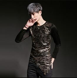Personalised Mens Slim Fit T Shirt Long Sleeve Fashion Shirts