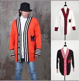 Striped Contrast Hem Knit Cardigan 111