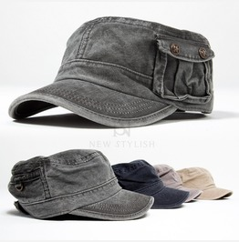 Button Pocket Military Short Brim Cap 24