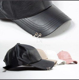 Double Ring Pierced Leather Ball Cap 23
