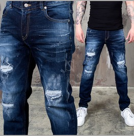 Distressed Ice Washing Deep Blue Denim Jeans 309