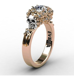 Skull Rose Gold Ring Womens Jewelry