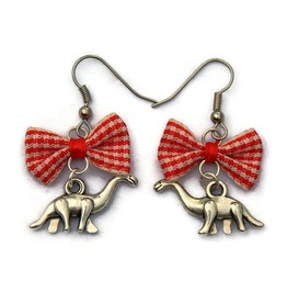 Dinosaur Earrings With Red Gingham Bow