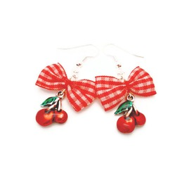 Red And White Gingham Bow And Cherry Earrings