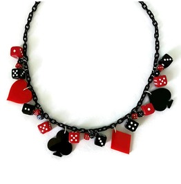 Retro Vegas Necklace In Red And Black Card Suit And Dice