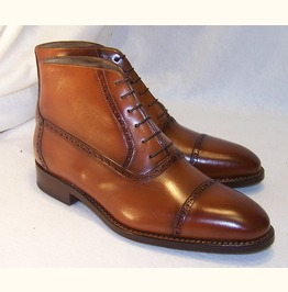 Handmade Men Cap Toe Lace Up Boots, Men Ankle Leather Boot, Boots For Men